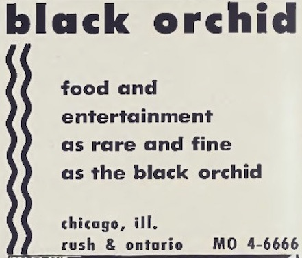 Black Orchid Chicago ad 1958